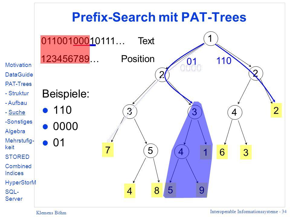 Interoperable Informationssysteme - 34 Klemens Böhm Prefix-Search mit PAT-Trees 2 1 2 3 3 7 5 4 8 1 4 2 6 3 01100100010111…Text 123456789… Position 5 9 4 Motivation DataGuide PAT-Trees - Struktur - Aufbau - Suche -Sonstiges Algebra Mehrstufig- keit STORED Combined Indices HyperStorM SQL- Server Beispiele: l 110 l 0000 l 01 110 0000 01