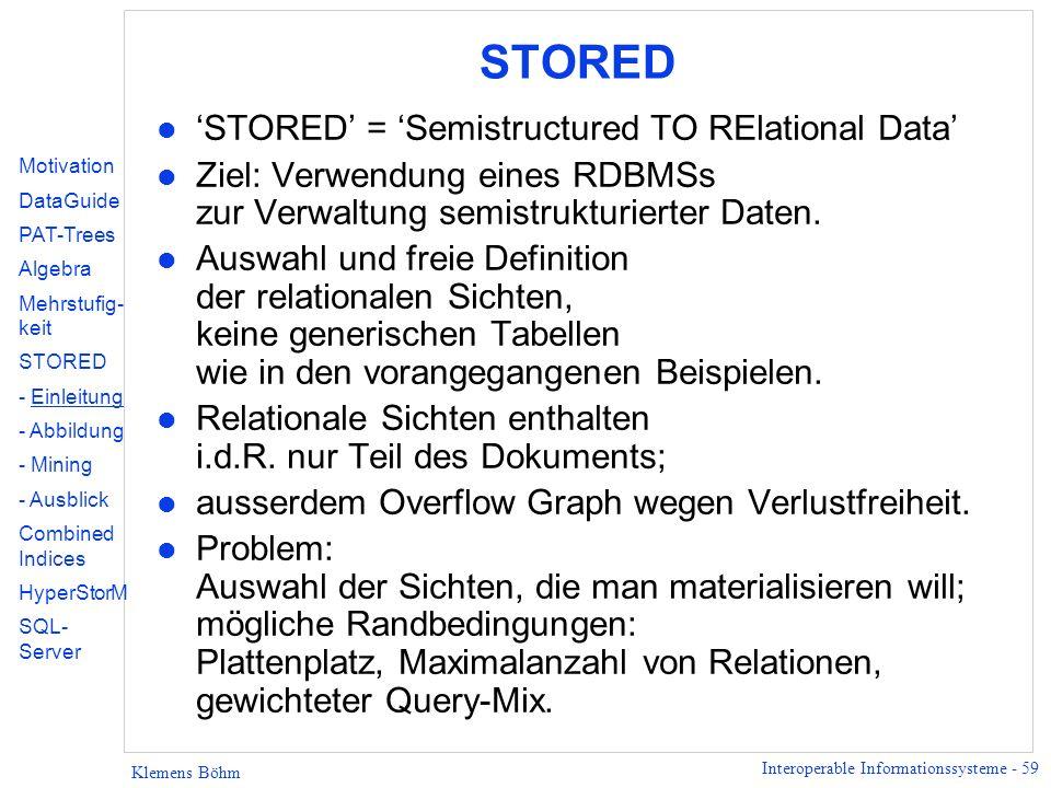 Interoperable Informationssysteme - 59 Klemens Böhm STORED l STORED = Semistructured TO RElational Data l Ziel: Verwendung eines RDBMSs zur Verwaltung semistrukturierter Daten.
