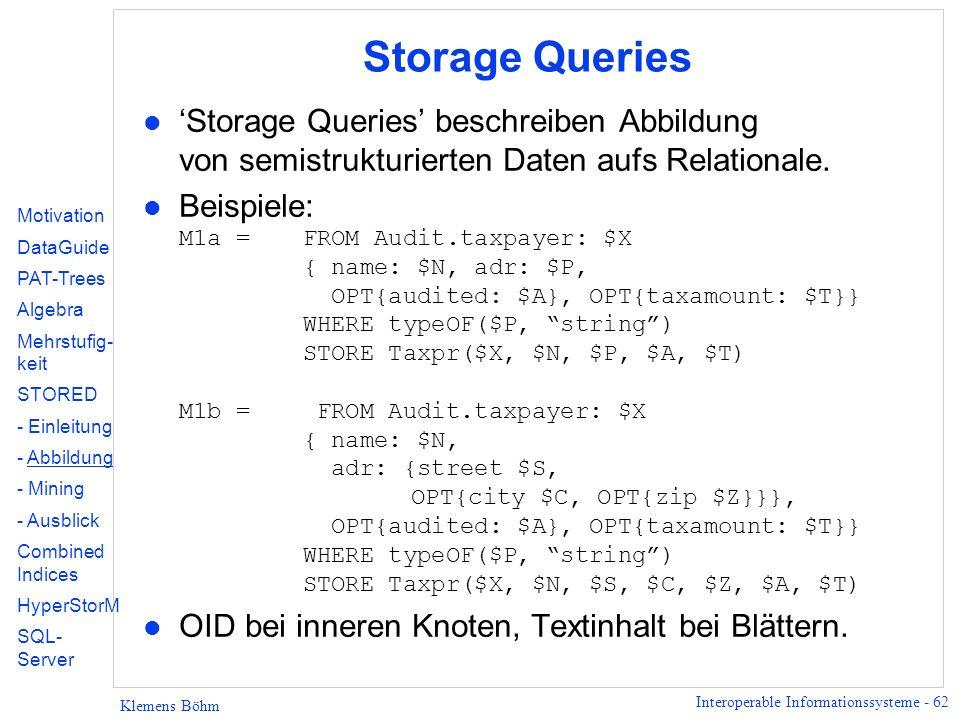 Interoperable Informationssysteme - 62 Klemens Böhm Storage Queries l Storage Queries beschreiben Abbildung von semistrukturierten Daten aufs Relationale.