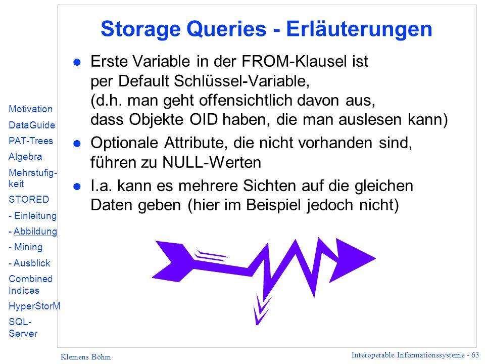 Interoperable Informationssysteme - 63 Klemens Böhm Storage Queries - Erläuterungen l Erste Variable in der FROM-Klausel ist per Default Schlüssel-Variable, (d.h.
