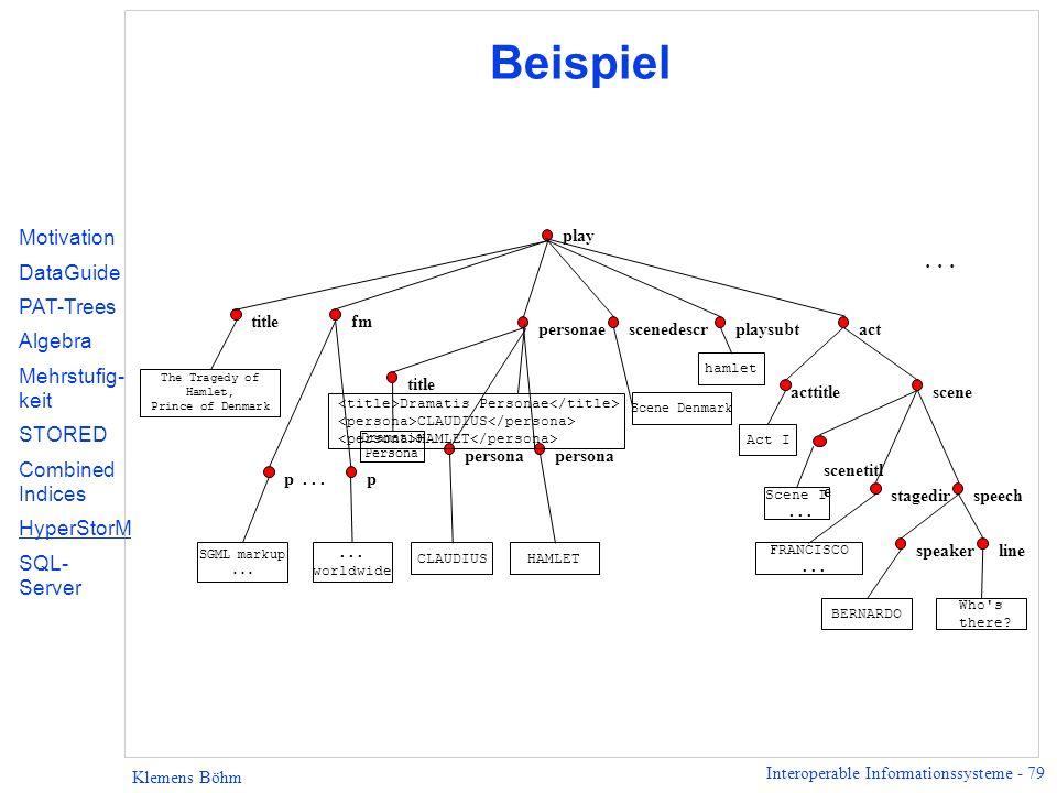 Interoperable Informationssysteme - 79 Klemens Böhm Beispiel scene...