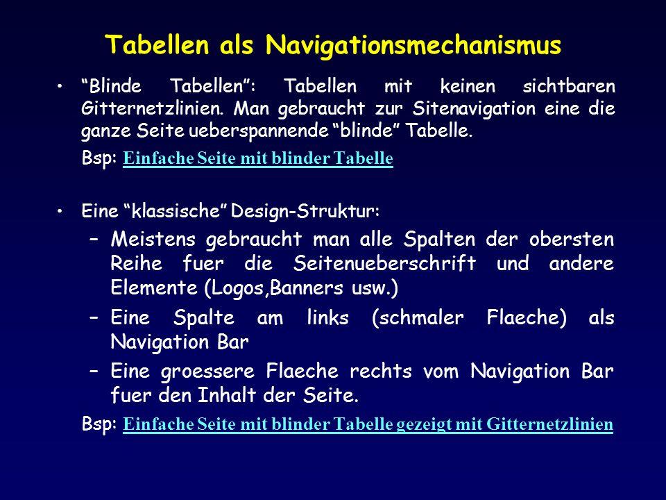 Tabellen als Navigationsmechanismus Blinde Tabellen: Tabellen mit keinen sichtbaren Gitternetzlinien.