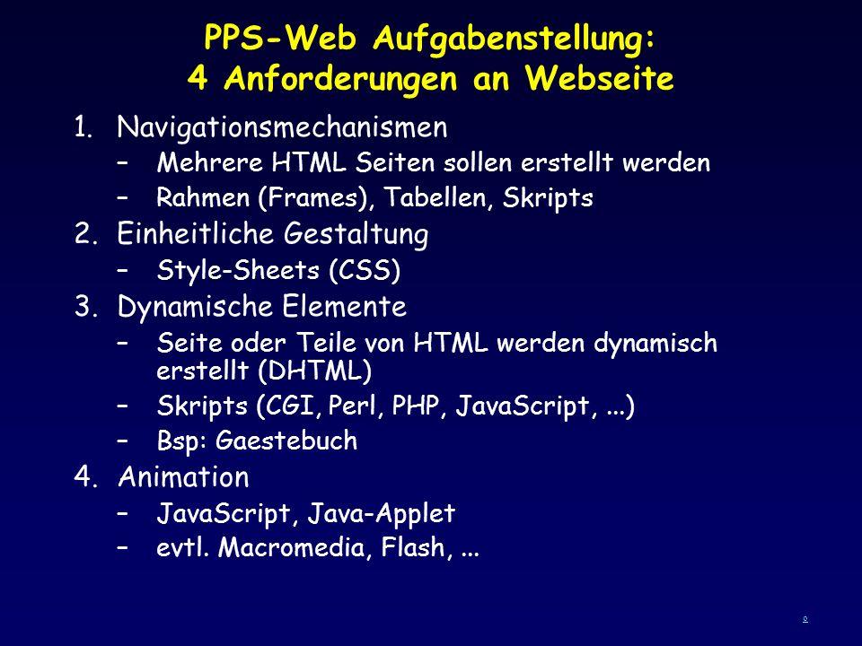 Rahmen-Satz und Rahmen Aufteilung des Anziegebereiches des Browsers in verschiedene, frei definerbare Fenster, genannt Rahmen (Frames) Jeder Rahmen enthält eigene Inhalte Links in einem Rahmen können Dateien aufrufen, die dann in einem anderen Rahmen angezeigt werden Mehrere zusammengehörige Rahmen bilden ein Rahmen-Satz (Frame-Set).