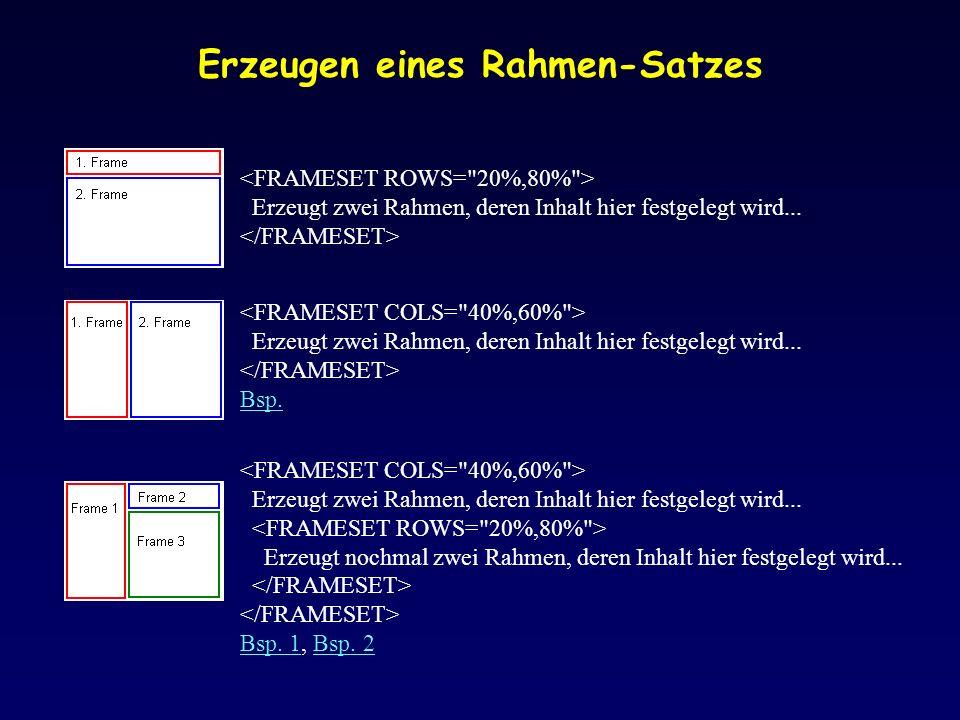 Erzeugen eines Rahmen-Satzes Erzeugt zwei Rahmen, deren Inhalt hier festgelegt wird...