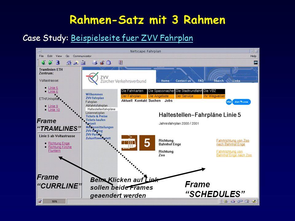 Rahmen-Satz mit 3 Rahmen Case Study: Beispielseite fuer ZVV FahrplanBeispielseite fuer ZVV Fahrplan Frame SCHEDULES Frame CURRLINE Beim Klicken auf Link sollen beide Frames geaendert werden Frame TRAMLINES