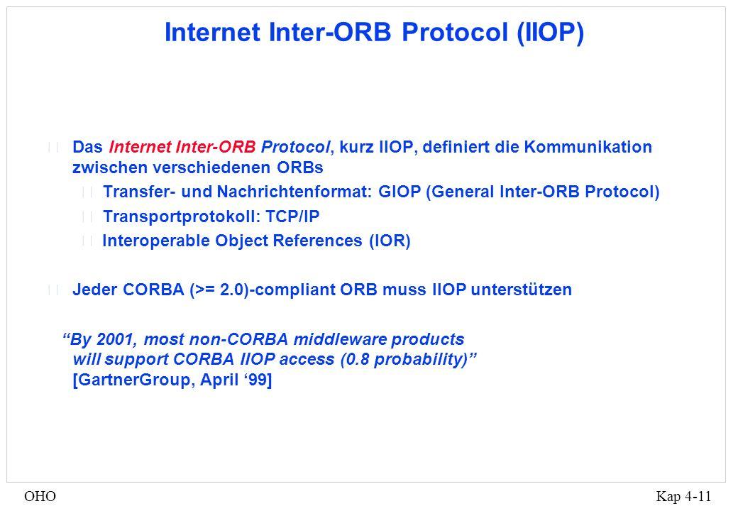 Kap 4-11OHO Internet Inter-ORB Protocol (IIOP) •Das Internet Inter-ORB Protocol, kurz IIOP, definiert die Kommunikation zwischen verschiedenen ORBs •Transfer- und Nachrichtenformat: GIOP (General Inter-ORB Protocol) •Transportprotokoll: TCP/IP •Interoperable Object References (IOR) •Jeder CORBA (>= 2.0)-compliant ORB muss IIOP unterstützen By 2001, most non-CORBA middleware products will support CORBA IIOP access (0.8 probability) [GartnerGroup, April 99]