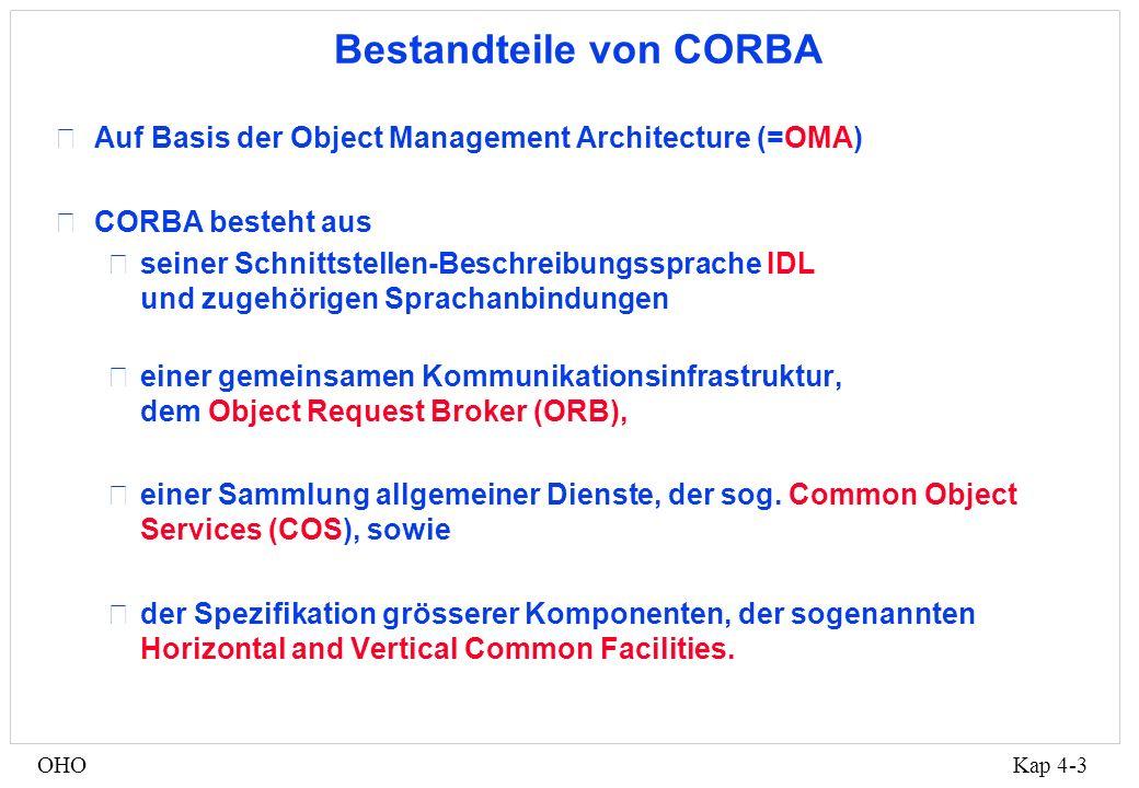 Kap 4-3OHO Bestandteile von CORBA •Auf Basis der Object Management Architecture (=OMA) •CORBA besteht aus •seiner Schnittstellen-Beschreibungssprache IDL und zugehörigen Sprachanbindungen •einer gemeinsamen Kommunikationsinfrastruktur, dem Object Request Broker (ORB), •einer Sammlung allgemeiner Dienste, der sog.