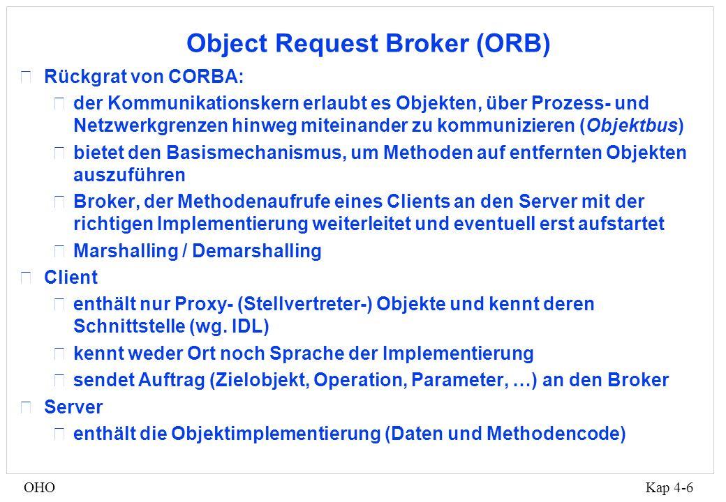 Kap 4-6OHO Object Request Broker (ORB) •Rückgrat von CORBA: •der Kommunikationskern erlaubt es Objekten, über Prozess- und Netzwerkgrenzen hinweg miteinander zu kommunizieren (Objektbus) •bietet den Basismechanismus, um Methoden auf entfernten Objekten auszuführen •Broker, der Methodenaufrufe eines Clients an den Server mit der richtigen Implementierung weiterleitet und eventuell erst aufstartet •Marshalling / Demarshalling •Client •enthält nur Proxy- (Stellvertreter-) Objekte und kennt deren Schnittstelle (wg.