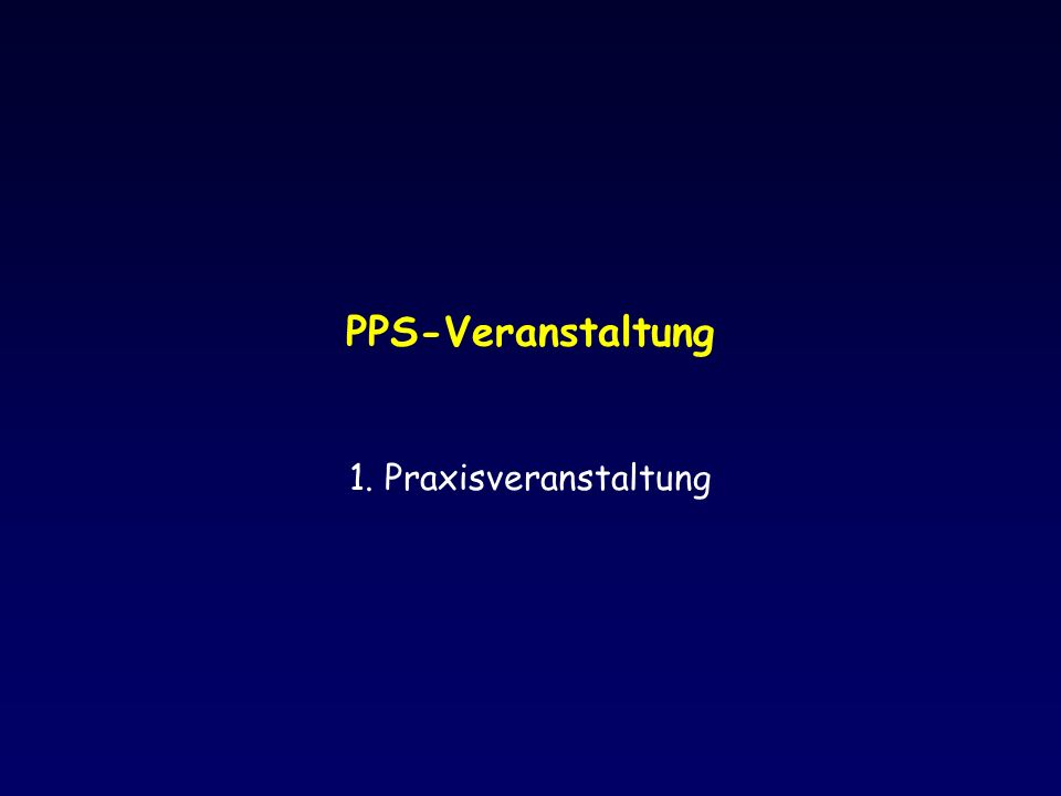 PPS-Veranstaltung 1. Praxisveranstaltung