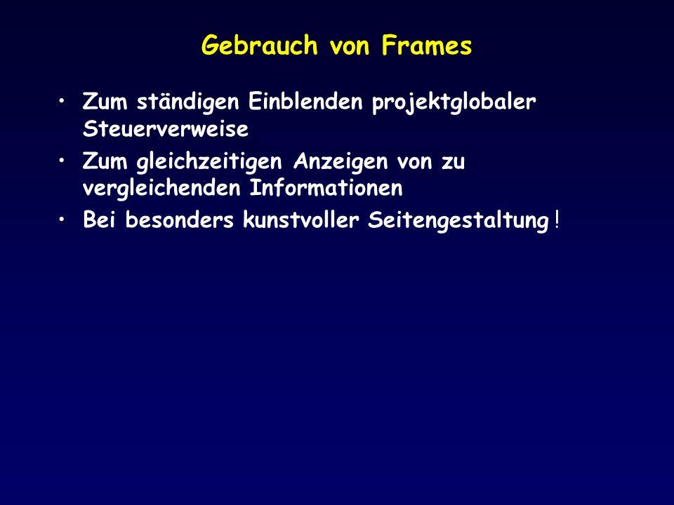 Gebrauch von Frames Zum ständigen Einblenden projektglobaler Steuerverweise Zum gleichzeitigen Anzeigen von zu vergleichenden Informationen Bei besond