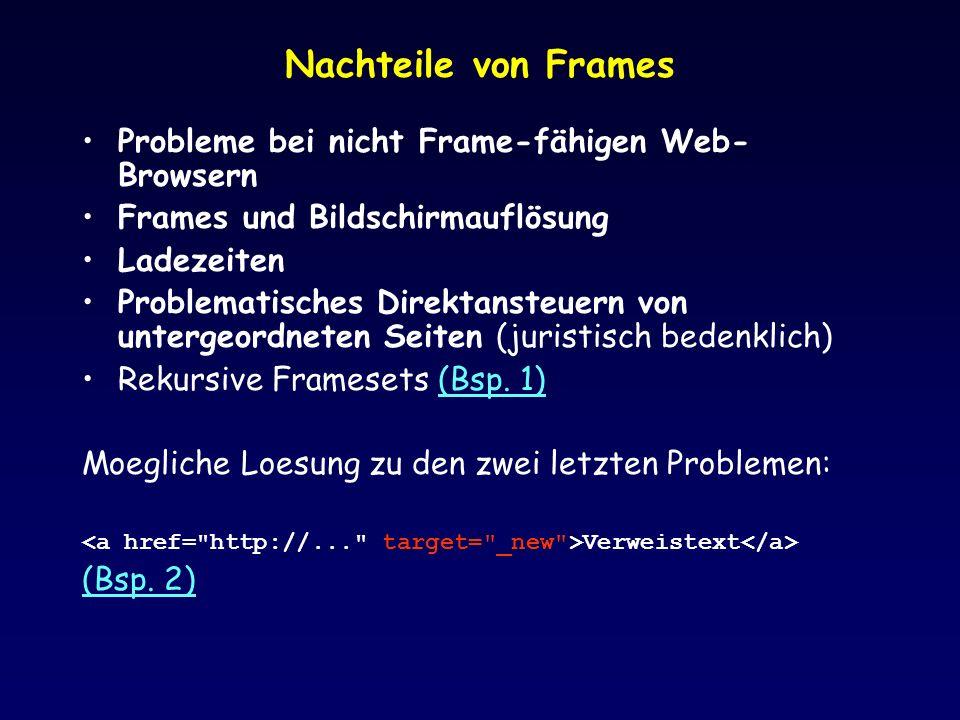 Nachteile von Frames Probleme bei nicht Frame-fähigen Web- Browsern Frames und Bildschirmauflösung Ladezeiten Problematisches Direktansteuern von unte