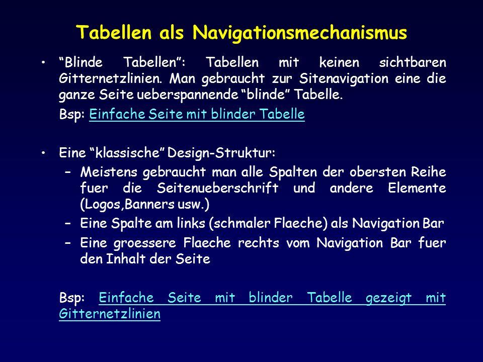 Tabellen als Navigationsmechanismus Blinde Tabellen: Tabellen mit keinen sichtbaren Gitternetzlinien. Man gebraucht zur Sitenavigation eine die ganze