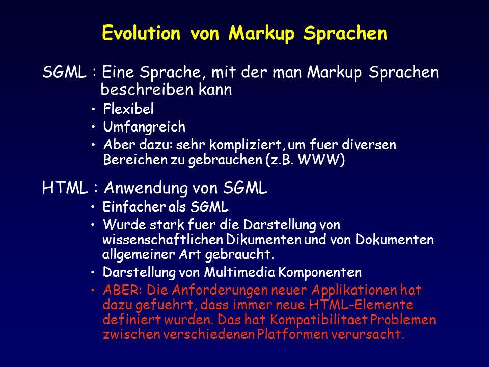 Evolution von Markup Sprachen SGML : Eine Sprache, mit der man Markup Sprachen beschreiben kann Flexibel Umfangreich Aber dazu: sehr kompliziert, um f
