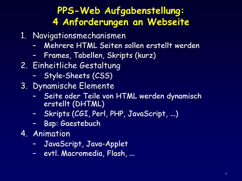 PPS-Web Aufgabenstellung: 4 Anforderungen an Webseite 1.Navigationsmechanismen –Mehrere HTML Seiten sollen erstellt werden –Frames, Tabellen, Skripts