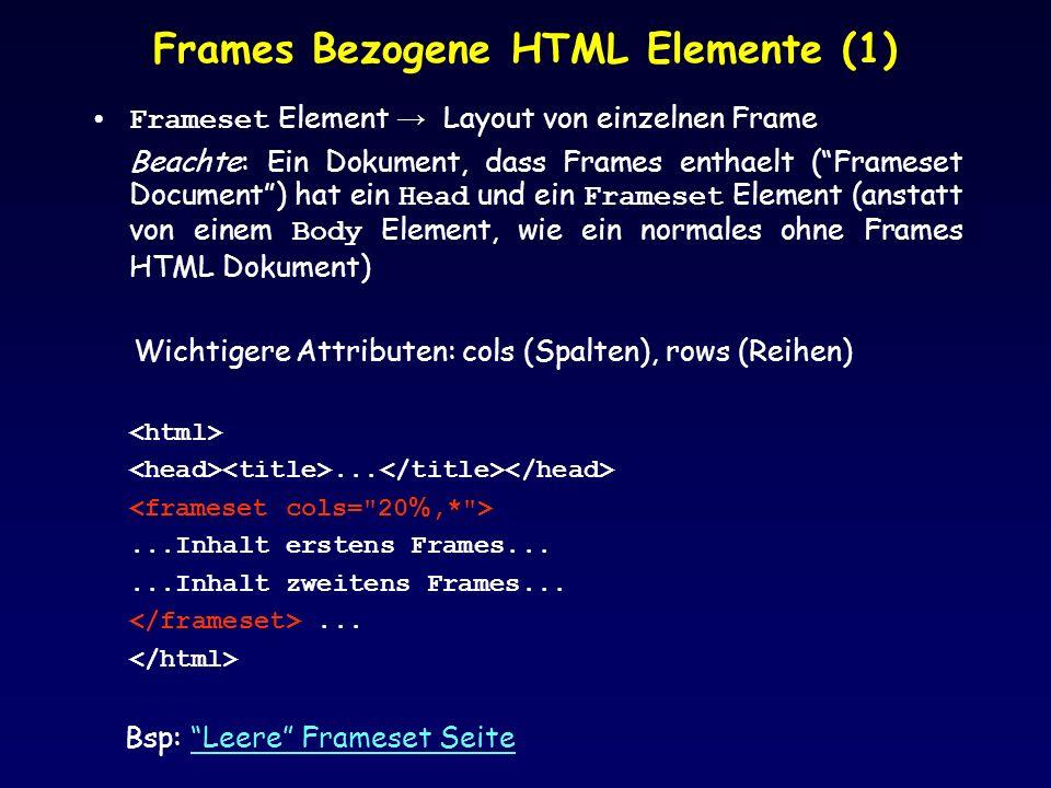 Frames Bezogene HTML Elemente (1) Frameset Element Layout von einzelnen Frame Beachte: Ein Dokument, dass Frames enthaelt (Frameset Document) hat ein