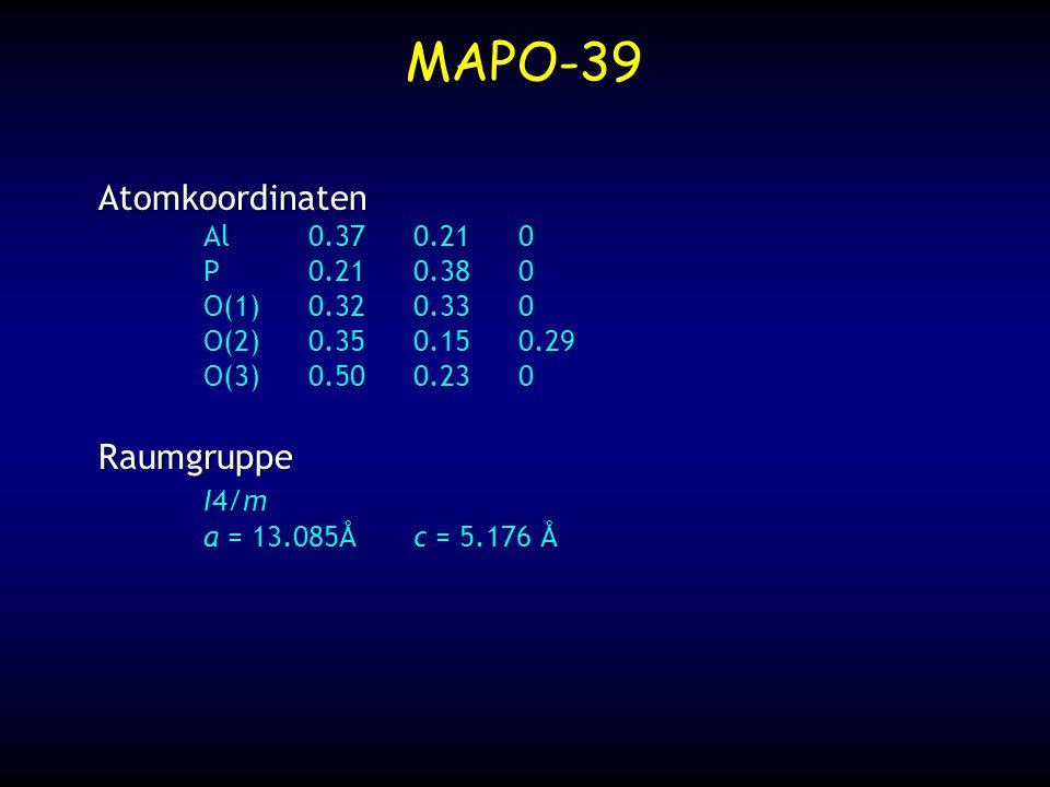 MAPO-39 Atomkoordinaten Al0.370.210 P0.210.380 O(1)0.320.330 O(2)0.350.150.29 O(3)0.500.230 Raumgruppe I4/m a = 13.085Åc = 5.176 Å