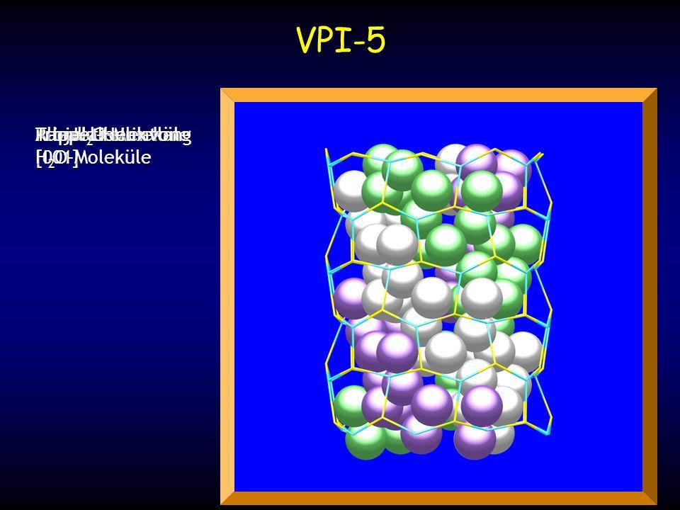 Alle H 2 O-Moleküle Kanal allein Projektion entlang [001] Trippel-Helix von H 2 O-Moleküle VPI-5