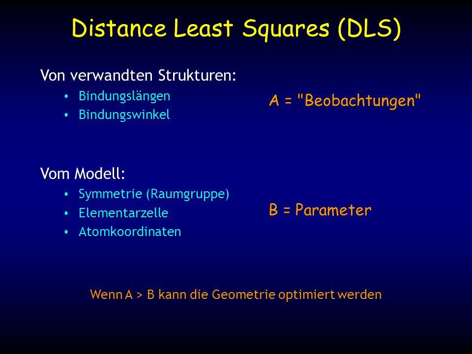 Distance Least Squares (DLS) Von verwandten Strukturen: Bindungslängen Bindungslängen Bindungswinkel Bindungswinkel Vom Modell: Symmetrie (Raumgruppe) Symmetrie (Raumgruppe) Elementarzelle Elementarzelle Atomkoordinaten Atomkoordinaten A = Beobachtungen B = Parameter Wenn A > B kann die Geometrie optimiert werden