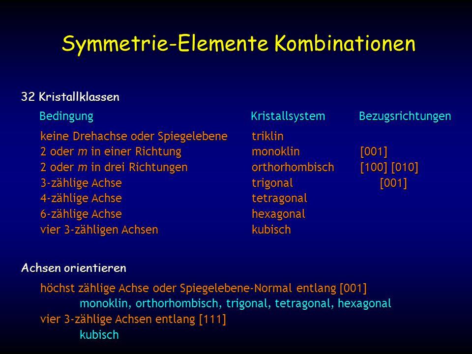 keine Drehachse oder Spiegelebenetriklin 2 oder m in einer Richtungmonoklin 2 oder m in drei Richtungenorthorhombisch 3-zählige Achsetrigonal 4-zählige Achsetetragonal 6-zählige Achsehexagonal vier 3-zähligen Achsenkubisch Symmetrie-Elemente Kombinationen 32 Kristallklassen Achsen orientieren höchst zählige Achse oder Spiegelebene-Normal entlang [001] monoklin, orthorhombisch, trigonal, tetragonal, hexagonal vier 3-zählige Achsen entlang [111] kubisch BedingungKristallsystemBezugsrichtungen [001] [100] [010] [001]