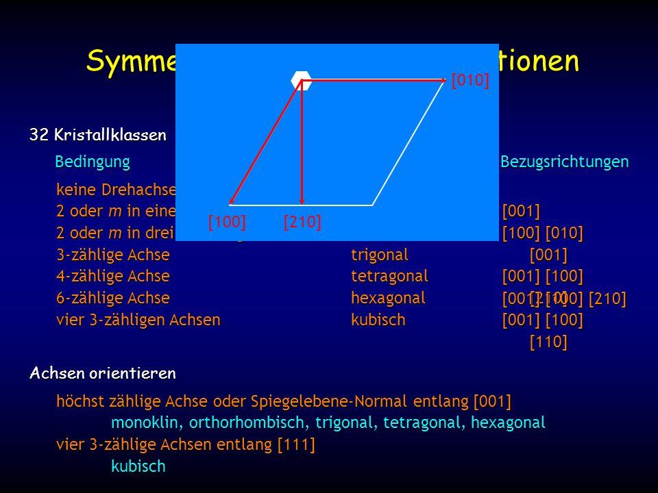 keine Drehachse oder Spiegelebenetriklin 2 oder m in einer Richtungmonoklin 2 oder m in drei Richtungenorthorhombisch 3-zählige Achsetrigonal 4-zählige Achsetetragonal 6-zählige Achsehexagonal vier 3-zähligen Achsenkubisch Symmetrie-Elemente Kombinationen 32 Kristallklassen Achsen orientieren höchst zählige Achse oder Spiegelebene-Normal entlang [001] monoklin, orthorhombisch, trigonal, tetragonal, hexagonal vier 3-zählige Achsen entlang [111] kubisch BedingungKristallsystemBezugsrichtungen [001] [100] [010] [001] [001] [100] [210] [001] [100] [110] [001] [100] [210] [100] [210] [010]