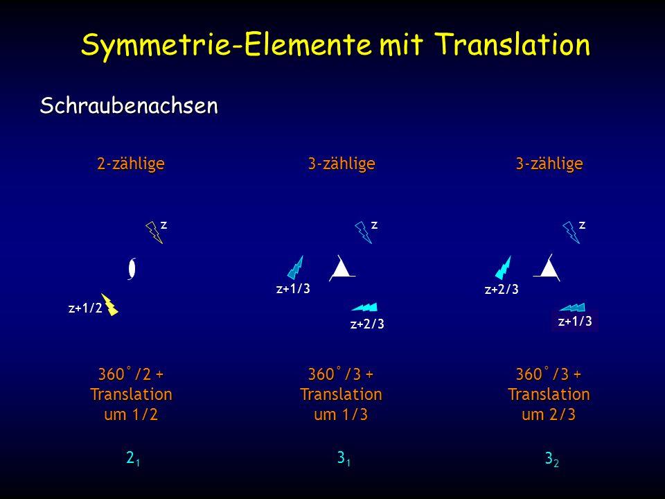 z+4/3 z+1/3 Symmetrie-Elemente mit Translation Schraubenachsen 2-zählige 3-zählige 360˚/2 + Translation um 1/2 360˚/3 + Translation um 1/3 21212121 31313131 z z+1/2 z z+1/3 z+2/3 3-zählige 360˚/3 + Translation um 2/3 32323232 z z+2/3