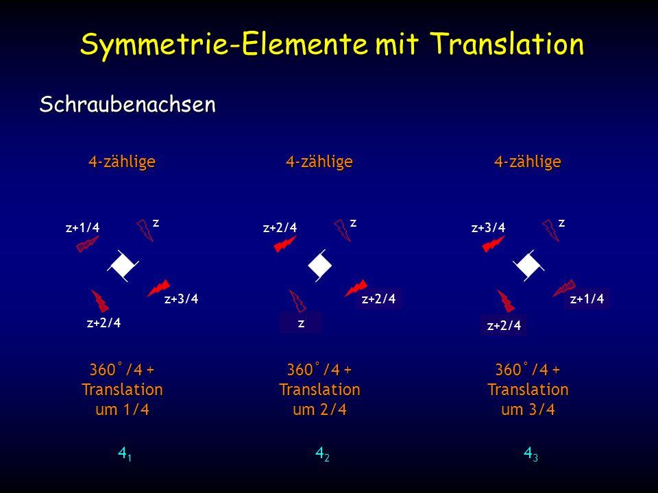 z+9/4 z+1/4 Symmetrie-Elemente mit Translation Schraubenachsen 4-zählige 360˚/4 + Translation um 1/4 41414141 z z+1/4 z+3/4 z+2/4 4-zählige 360˚/4 + Translation um 2/4 42424242 z z+2/4 z+6/4 z+4/4 z z+2/4 4-zählige 360˚/4 + Translation um 3/4 43434343 z z+3/4 z+6/4z+2/4
