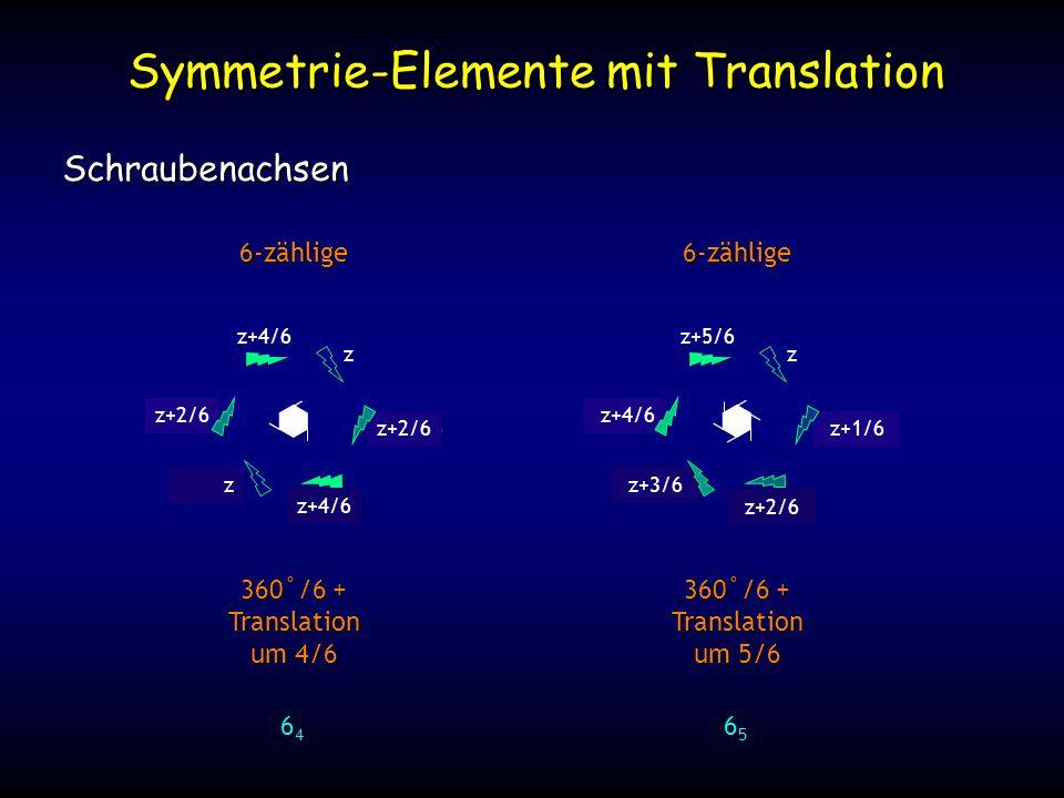 z+25/6 z+1/6 z+20/6 z+2/6 z+15/6 z+3/6 z+10/6 z+4/6 Symmetrie-Elemente mit Translation Schraubenachsen 6-zählige 360˚/6 + Translation um 4/6 64646464 z z+4/6 z+8/6 z+12/6 z+16/6 z+20/6 6-zählige 360˚/6 + Translation um 5/6 65656565 z z+5/6 z+2/6 z z+4/6 z+2/6
