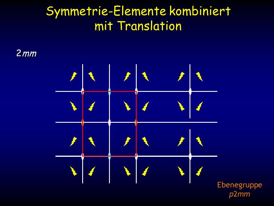Symmetrie-Elemente kombiniert mit Translation 2mm Ebenegruppe p2mm