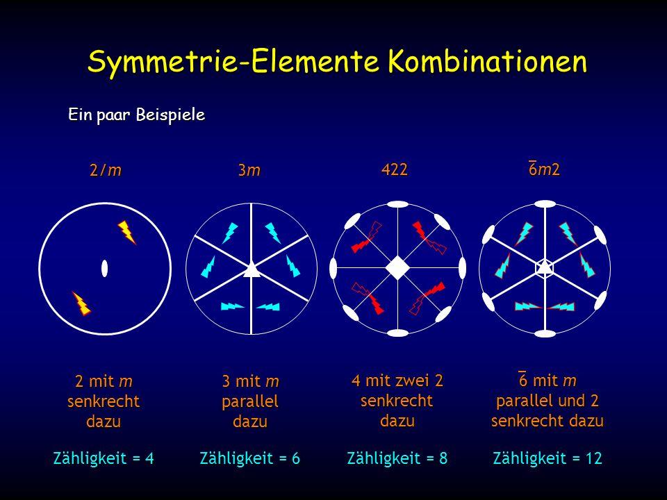 Ein paar Beispiele Symmetrie-Elemente Kombinationen 2/m 3m3m3m3m 422 2 mit m senkrechtdazu 3 mit m paralleldazu 4 mit zwei 2 senkrechtdazu 6 mit m parallel und 2 senkrecht dazu 6m26m26m26m2 Zähligkeit = 4 Zähligkeit = 6 Zähligkeit = 8 Zähligkeit = 12