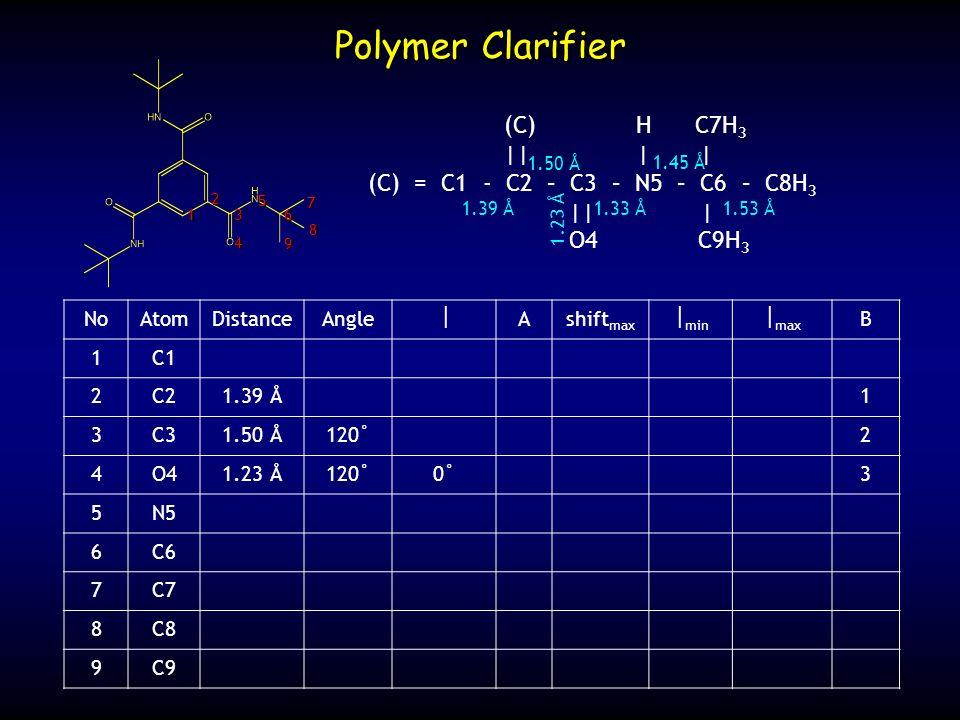 NoAtomDistanceAngle Ashift max min max B 1C1 2C21.39 Å1 3C31.50 Å120˚2 4O41.23 Å120˚0˚3 5N5 6C6 7C7 8C8 9C9 Polymer Clarifier (C) H C7H 3 || | | (C) =