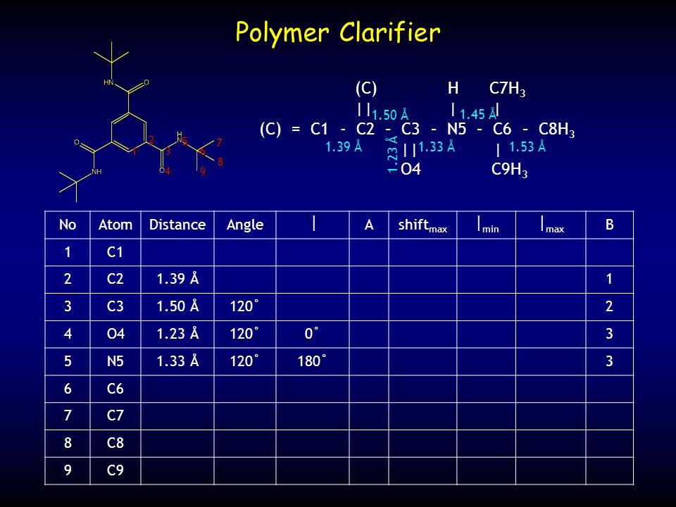NoAtomDistanceAngle Ashift max min max B 1C1 2C21.39 Å1 3C31.50 Å120˚2 4O41.23 Å120˚0˚3 5N51.33 Å120˚180˚3 6C6 7C7 8C8 9C9 Polymer Clarifier (C) H C7H