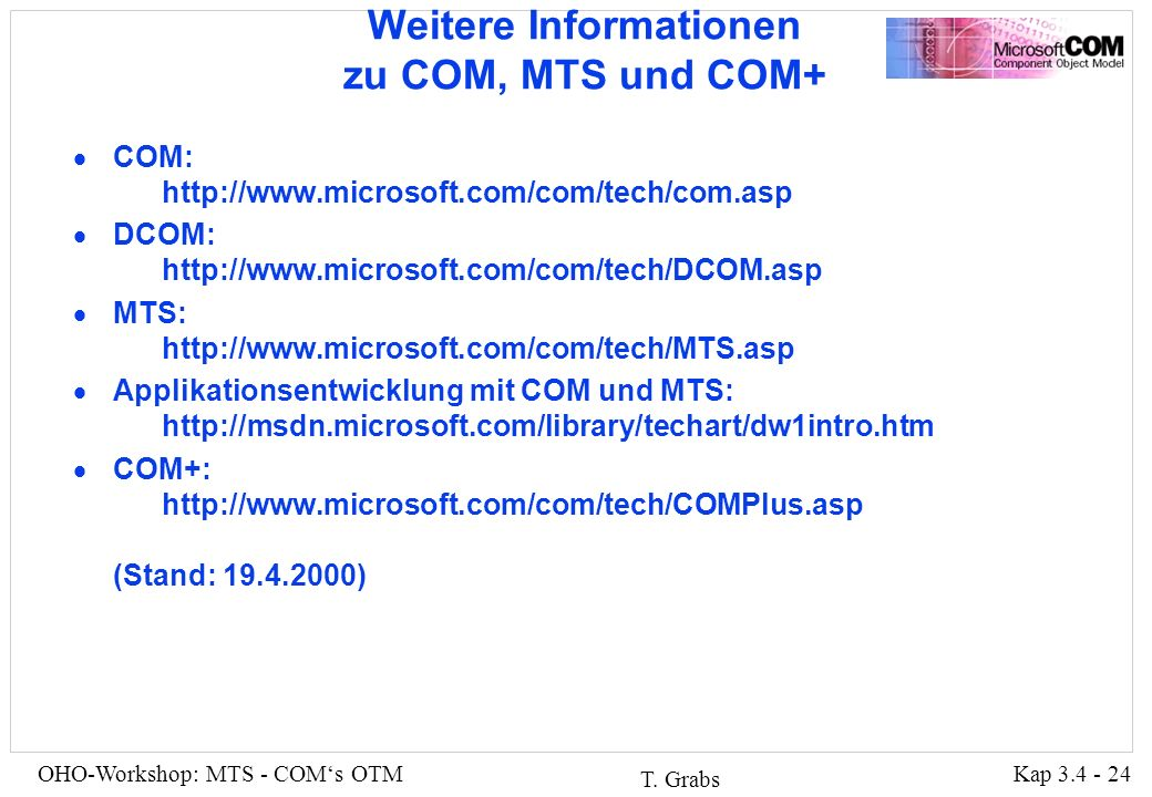 Kap 3.4 - 24OHO-Workshop: MTS - COMs OTM T.