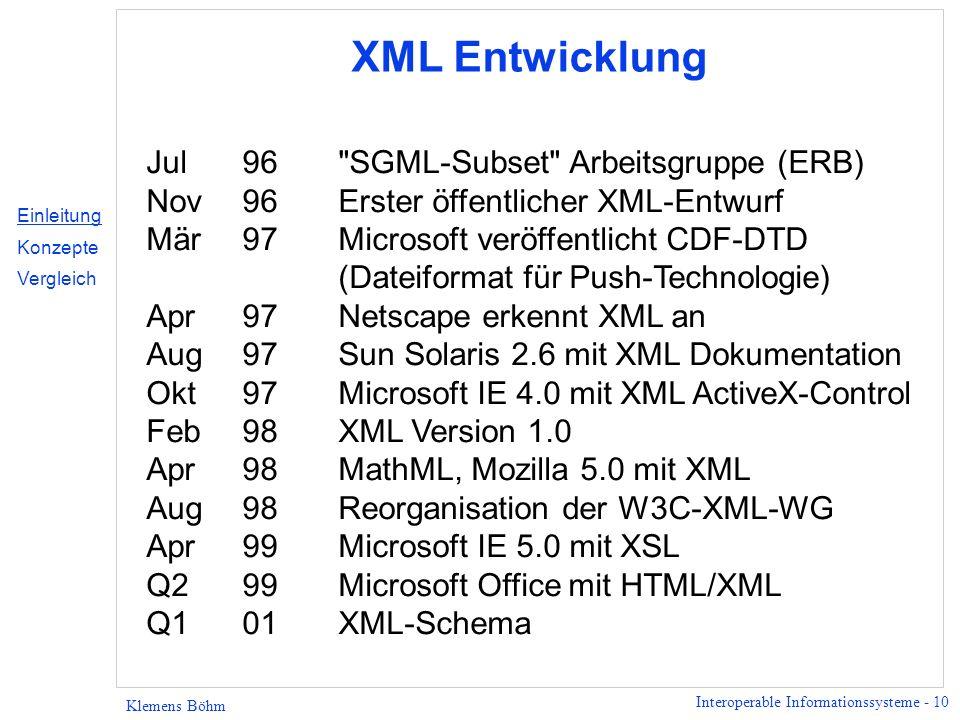 Interoperable Informationssysteme - 10 Klemens Böhm XML Entwicklung Jul96