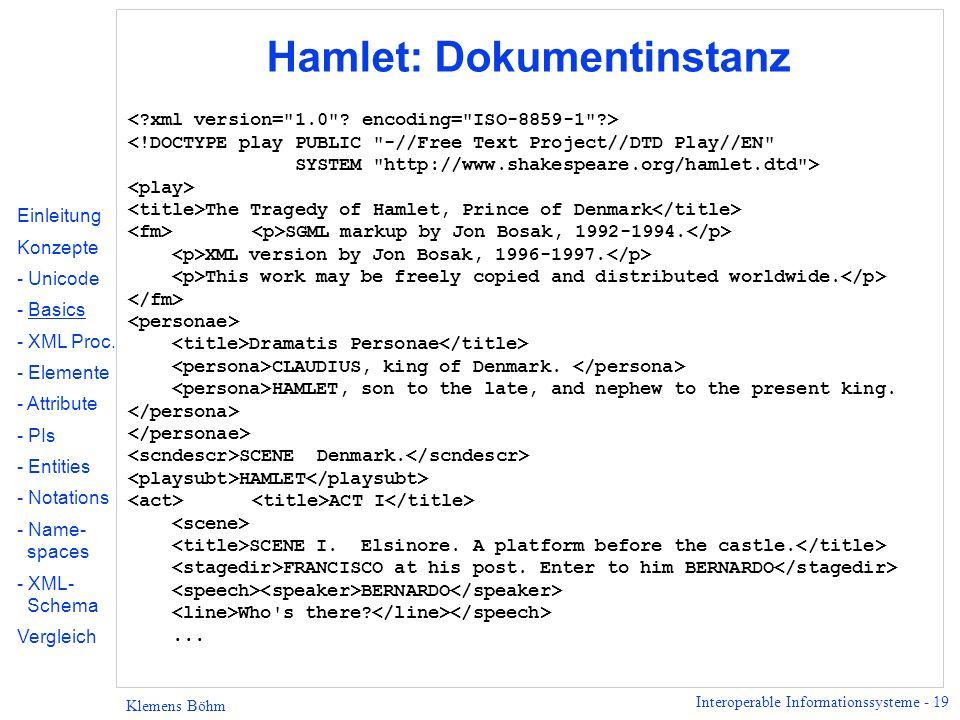 Interoperable Informationssysteme - 19 Klemens Böhm Hamlet: Dokumentinstanz The Tragedy of Hamlet, Prince of Denmark SGML markup by Jon Bosak, 1992-19