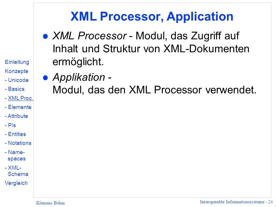 Interoperable Informationssysteme - 24 Klemens Böhm XML Processor, Application l XML Processor - Modul, das Zugriff auf Inhalt und Struktur von XML-Do