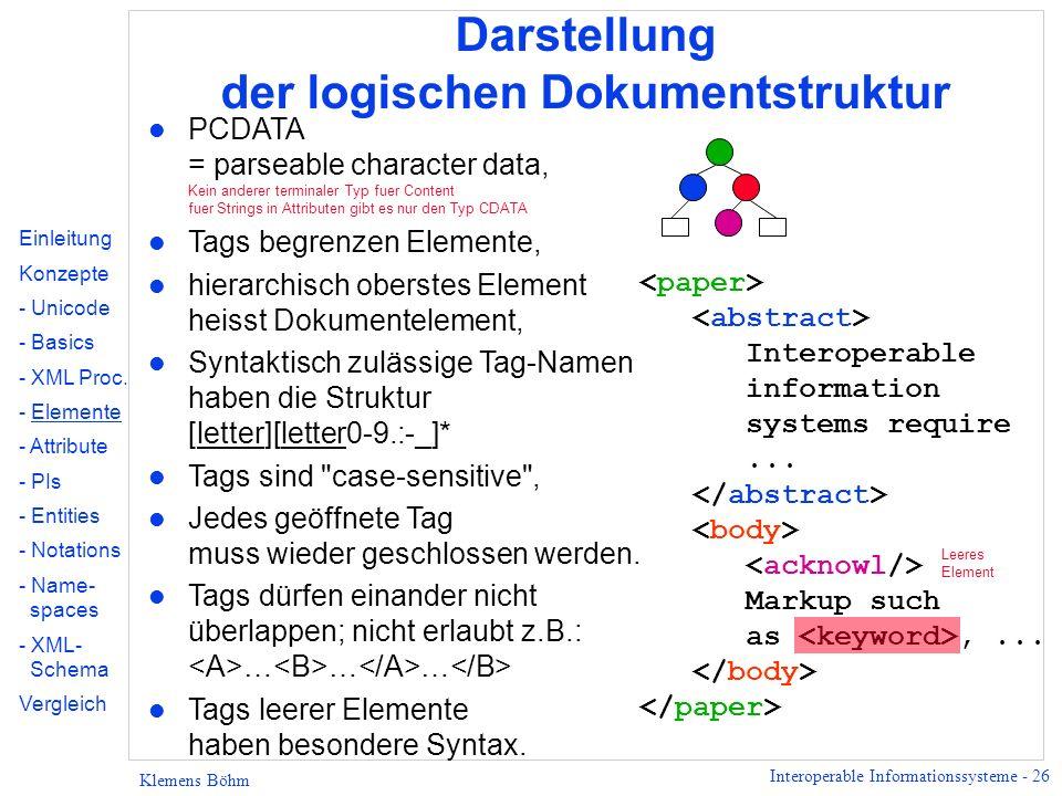 Interoperable Informationssysteme - 26 Klemens Böhm Darstellung der logischen Dokumentstruktur l PCDATA = parseable character data, Kein anderer termi