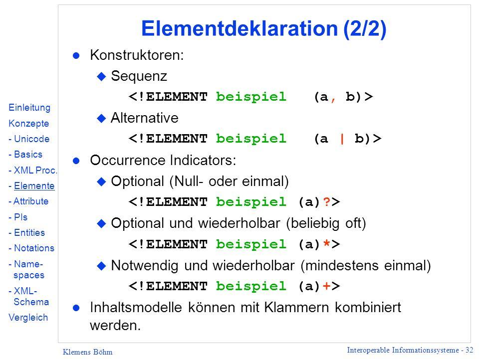 Interoperable Informationssysteme - 32 Klemens Böhm Elementdeklaration (2/2) l Konstruktoren: u Sequenz u Alternative l Occurrence Indicators: u Optio