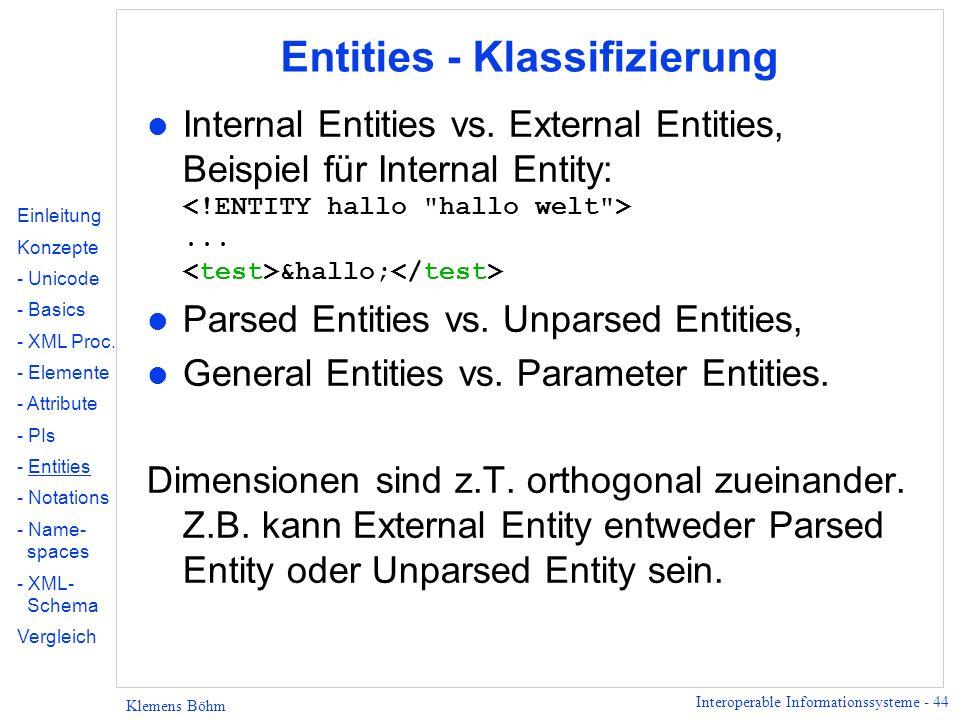 Interoperable Informationssysteme - 44 Klemens Böhm Entities - Klassifizierung Internal Entities vs. External Entities, Beispiel für Internal Entity:.