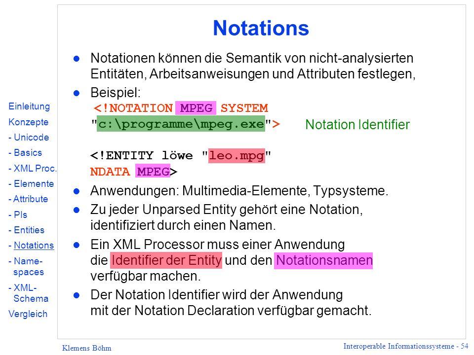 Interoperable Informationssysteme - 54 Klemens Böhm Notations l Notationen können die Semantik von nicht-analysierten Entitäten, Arbeitsanweisungen un
