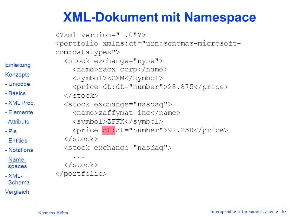 Interoperable Informationssysteme - 63 Klemens Böhm XML-Dokument mit Namespace zacx corp ZCXM 28.875 zaffymat inc ZFFX 92.250... Einleitung Konzepte -