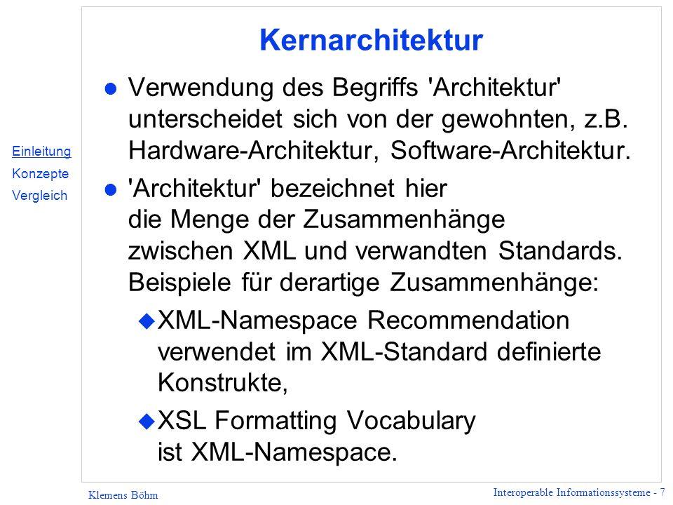 Interoperable Informationssysteme - 28 Klemens Böhm DTD-Deklarationen test ist das Dokumentelement ]> &hallo; ]> Externe DTD Deklaration Interne DTD Deklaration Gemischte Nutzung Internal DTD Subset Einleitung Konzepte - Unicode - Basics - XML Proc.