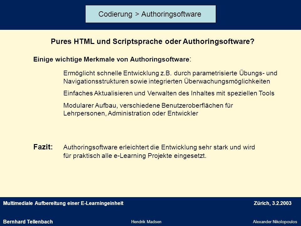 Multimediale Aufbereitung einer E-LearningeinheitZürich, 3.2.2003 Hendrik MadsenAlexander Nikolopoulos Codierung > Authoringsoftware Pures HTML und Sc