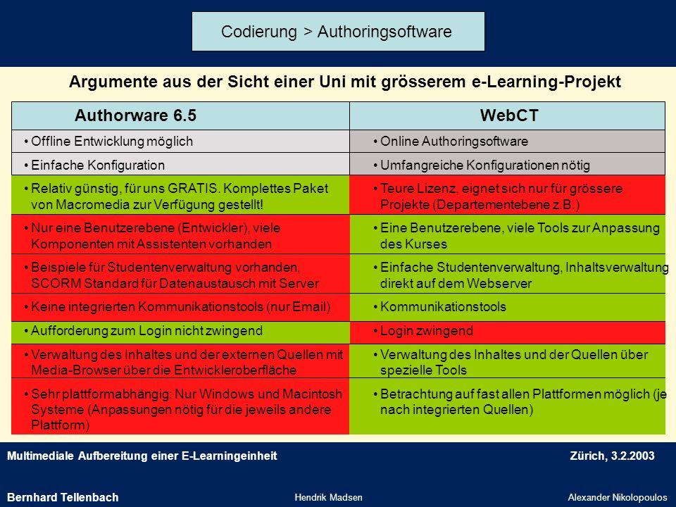 Multimediale Aufbereitung einer E-LearningeinheitZürich, 3.2.2003 Hendrik MadsenAlexander Nikolopoulos Argumente aus der Sicht einer Uni mit grösserem