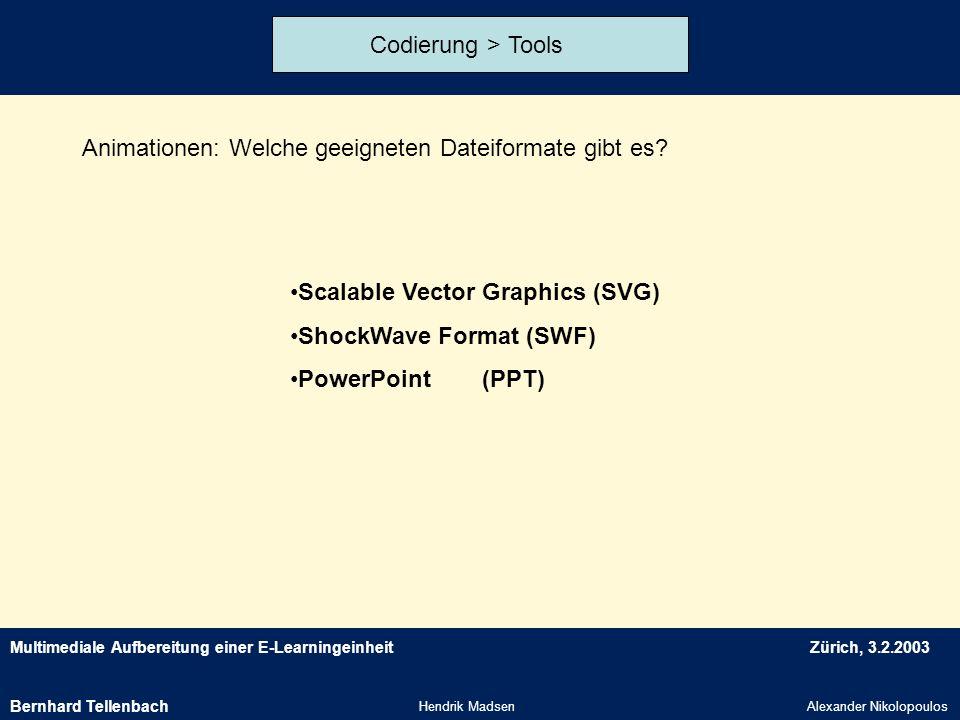Multimediale Aufbereitung einer E-LearningeinheitZürich, 3.2.2003 Hendrik MadsenAlexander Nikolopoulos Codierung > Tools Animationen: Welche geeignete