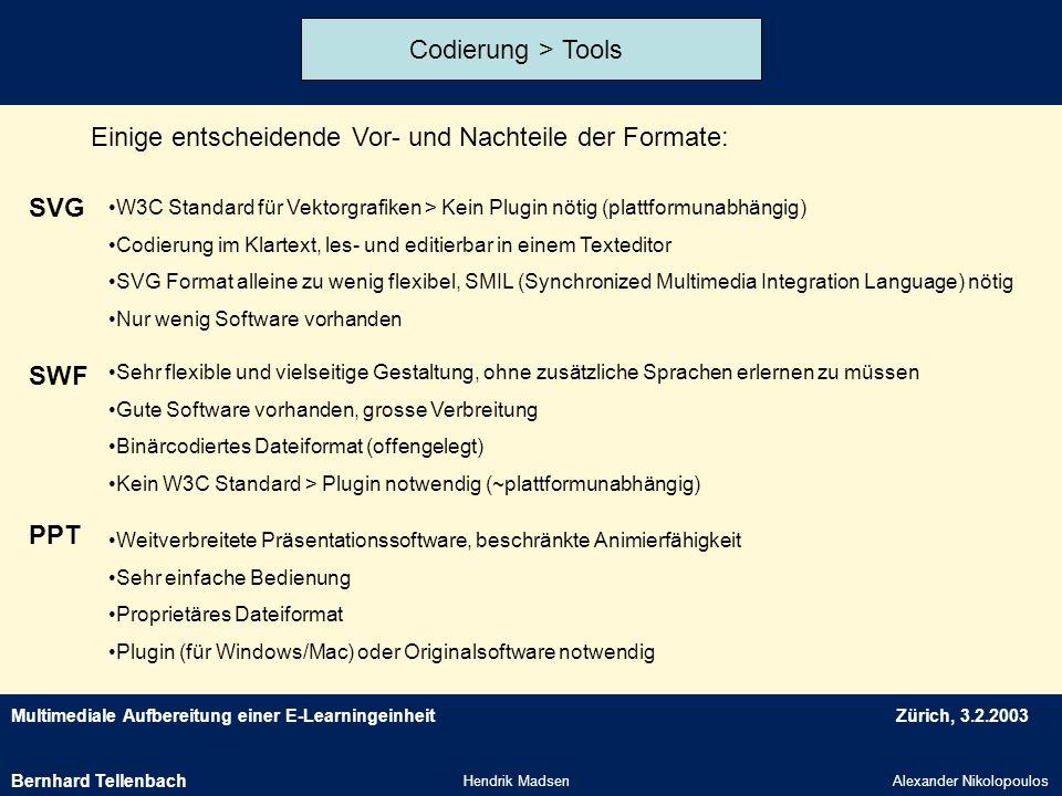 Multimediale Aufbereitung einer E-LearningeinheitZürich, 3.2.2003 Hendrik MadsenAlexander Nikolopoulos Codierung > Tools Einige entscheidende Vor- und