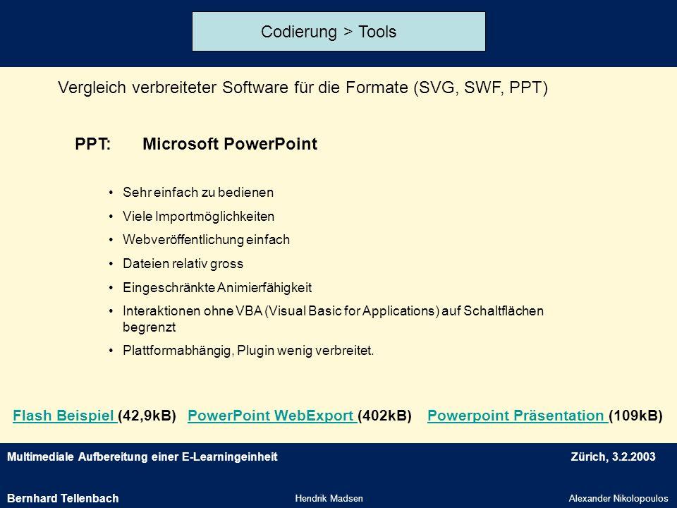 Multimediale Aufbereitung einer E-LearningeinheitZürich, 3.2.2003 Hendrik MadsenAlexander Nikolopoulos Codierung > Tools Vergleich verbreiteter Softwa