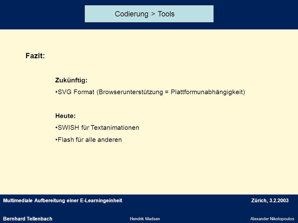 Multimediale Aufbereitung einer E-LearningeinheitZürich, 3.2.2003 Hendrik MadsenAlexander Nikolopoulos Codierung > Tools Fazit: Zukünftig: SVG Format
