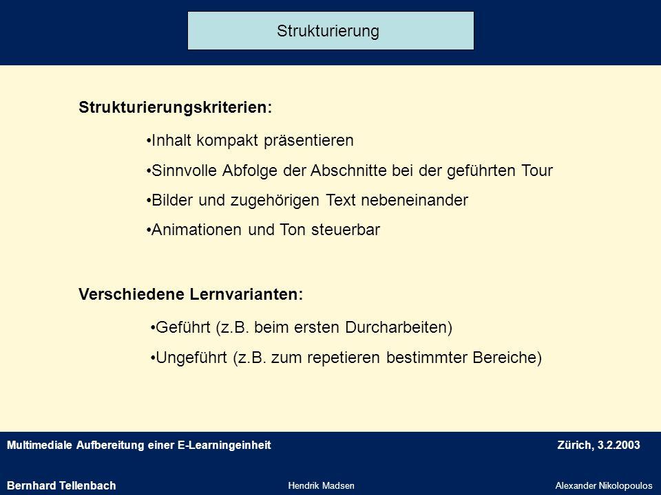 Multimediale Aufbereitung einer E-LearningeinheitZürich, 3.2.2003 Hendrik MadsenAlexander Nikolopoulos Strukturierung Strukturierungskriterien: Versch