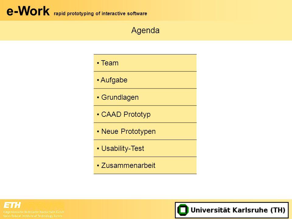 e-Work rapid prototyping of interactive software Zusammenarbeit (1) Kick-Off Ende November in Karlsruhe –Grobe inhaltliche Gliederung –Aufgabenteilung –Meilensteine –Termine der Videokonferenzen Videokonferenzen –Kontrolle der Meilensteine –Entstandene Fragen besprechen –Weiteres Vorgehen Zwischenpräsentation Mitte Dezember