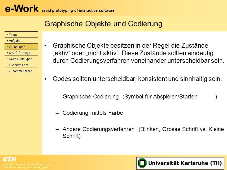 e-Work rapid prototyping of interactive software Graphische Objekte und Codierung Graphische Objekte besitzen in der Regel die Zustände aktiv oder nic